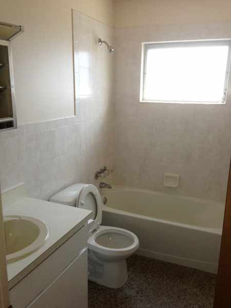 Guest bath with new tile, terrazzo floor, full size tub. Room size: 8.5' x 6'.